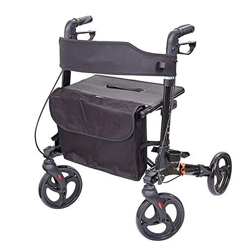 PAKUES-QO Andador con Ruedas Plegable para Adultos, Ancianos, Ancianos, Ayuda para La Movilidad para Discapacitados, Silla De Transporte De Aluminio De 4 Ruedas