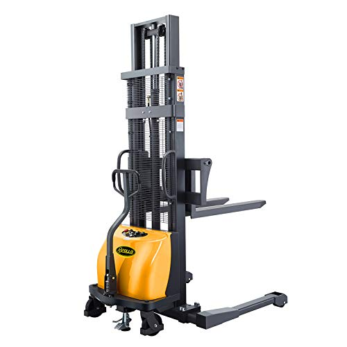 """APOLLO Semi-Electric Pallet Jack Straddle Legs Stacker 2200lbs Capacity 98"""" Lifting Height with Adjustable Forks"""