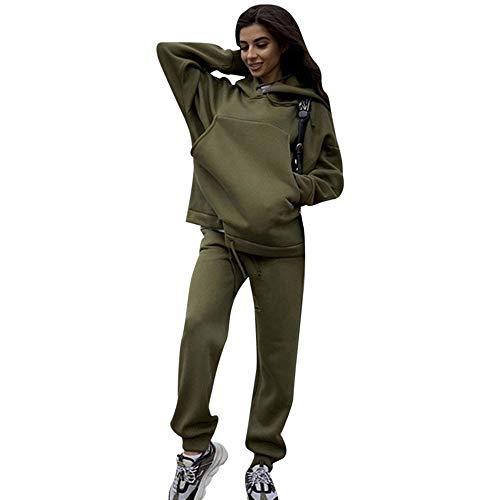 MoneRffi Damen Trainingsanzug Sportanzug Hoodie Langarm Sweatshirt Jogginganzug Pullover 2-teiliges Sportswear Set mit Taschen Yoga Mode Fitnessanzug zum Laufen(ArmyGreen,M)