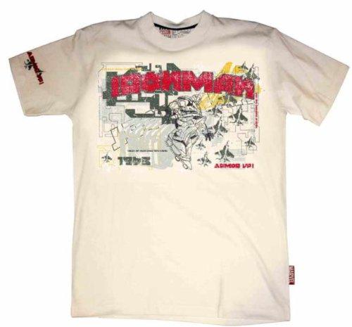 "T-Shirt Homme Blanc Iron Man ""White Graffiti"" (Taille S)"
