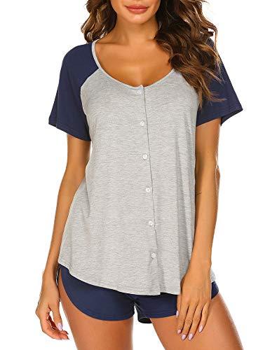 Ekouaer Womens Pajama Set Short Sleeve Sleepwear Cute Pajamas Pjs Sets S-XXL