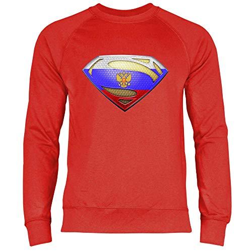 wowshirt Herren Sweatshirt Russe Russland Flagge Fahne Wappen, Größe:XL, Farbe:Red