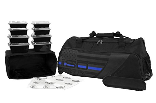 Thin Blue Line ISODUFFLE Gym Bag Meal Prep Management Insulated Duffle Lunch Bag with 8 Stackable Meal Prep Containers, 2 ISOBRICKS, and Shoulder Strap - MADE IN USA