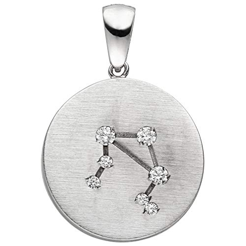 JOBO Damen-Anhänger Sternzeichen Waage aus 925 Silber matt mit 7 Zirkonia