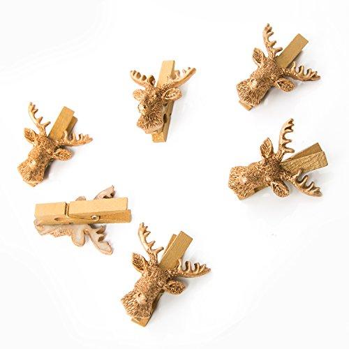 6 Stück kleine gold farbene Hirsch Dekoklammern Geweih jagdlich Zierklammern Hirschkopf Jagd Weihnachten Dekoration mini Wäscheklammern Holzklammern Deko Klammern für alle Feste - edel