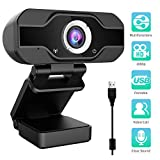 Aiglam Webcam, USB Webcam,PC Webcam Full HD con Microfono Stereo elecamera PC Microfoni Audio Stereo ridurre Il Rumore per Video Chat e Registrazione(Nero 1)