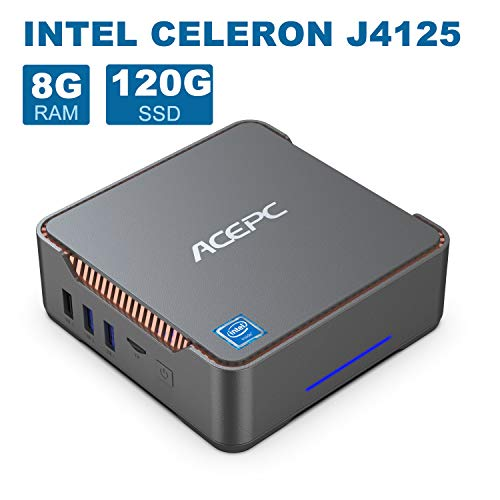 AK3 Mini-PC, 8GB DDR4 120GB eMMC, Intel Celeron J4125 Prozessor 4 Kerne Desktop-Computer, Windows 10 Pro (64 Bit), 4K 60 Hz, UHD Graphics 600, HDMI- und VGA-Ausgang, Gigabit LAN, 2,4G /5,0G WiFi