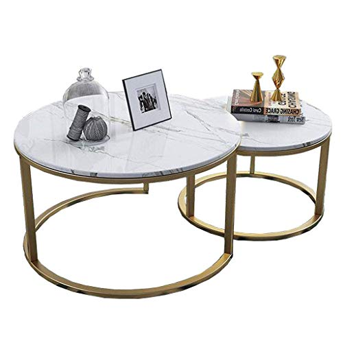 Home Décor Furniture Modern 2er Set Nistbar Couchtisch Freizeit Teetisch mit Beistellsofa Rund MDF Marmor Cocktail Tisch mit Stahlrahmen - Gold Wohnzimmer oder Lounge