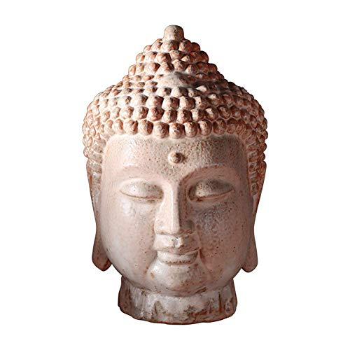 Ybzx Estatua de Cabeza de Buda, Escultura de Adorno de jardín de Cabeza de Buda, Arte de cerámica, adoración Budista Retro, devotos, Regalos de meditación