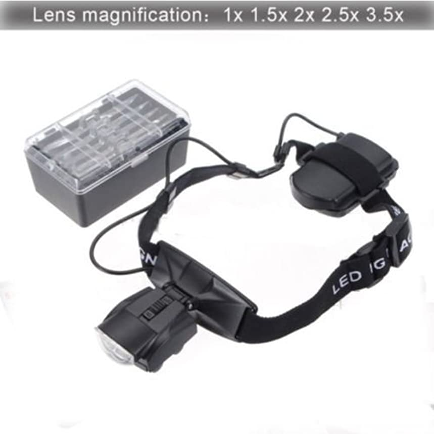 yan_Profession 2 LED Light Jewelry Lamp Head Headband Eye Magnifier Loupe Glass