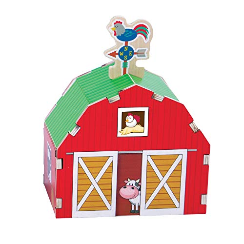 Fat Brain Toys Build It Blueprint Puzzles - Barn Building & Construction for Ages 4 to 5