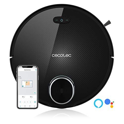 Cecotec Conga Serie 3090 Robot Aspirador, 2000 Pa, Compatible con Alexa y Google Home, Tecnología iTech Laser 360, App con Mapa, Aspira, Barre, Friega y Pasa la Mopa, 10 Modos, Programable, Negro