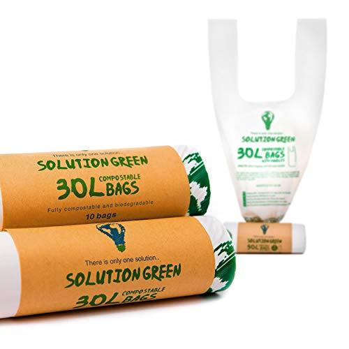 Bolsas 30L Biodegradables Con y Sin Asas Para Basura Alimentos De La Cocina [6L 10L 50L] Compostables - 100% Sin-Plastico