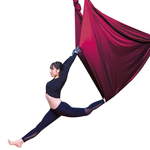 LHHL Hamaca De Yoga Antigravedad Aéreo Trapeze Hamaca Columpio Ultra Fuerte para Yoga Pilates Cuerpo Estirando Danza Aérea (Color : Wine Red, Size : 500x280cm/197x110in)