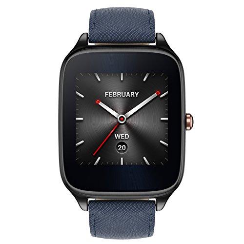 Asus Zenwatch 2 WI501Q-2LBLU0001 (4,1 cm (1,63 Zoll), Qualcomm Snapdragon, 320 x 320 pixels, Android, Amoled, 4GB, Lederarmband) titangrau/blau
