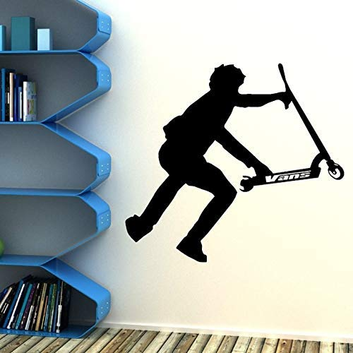 Stunt Scooter Vinilo Adhesivo De Pared Decoración Para El Hogar Transferencia Calcomanía De Pared Pvc Decoración De Pared Diy Mural Wall Art Wallpaper Poster Boy 57X52Cm