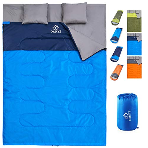 oaskys Camping Sleeping Bag - 3 Season Warm & Cool Weather - Summer, Spring, Fall, Lightweight, Waterproof for Adults & Kids - Camping Gear Equipment, Traveling, and Outdoors (Double Blue)