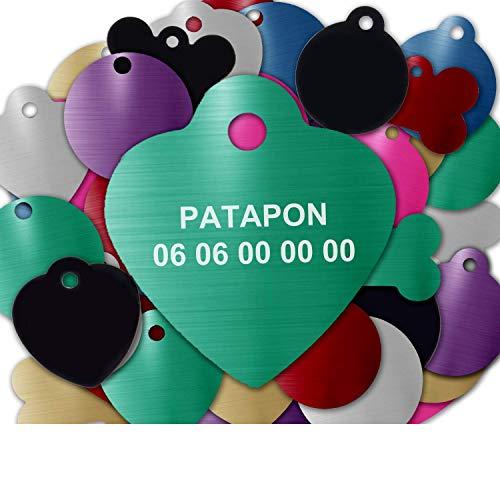 GRAVURE CONCEPT Médaille pour Chien Et Chat À Personnaliser – Médaillon Gravé 25 mm - 1 à 2 Lignes – 8 Couleurs Disponibles (Vert, Coeur)