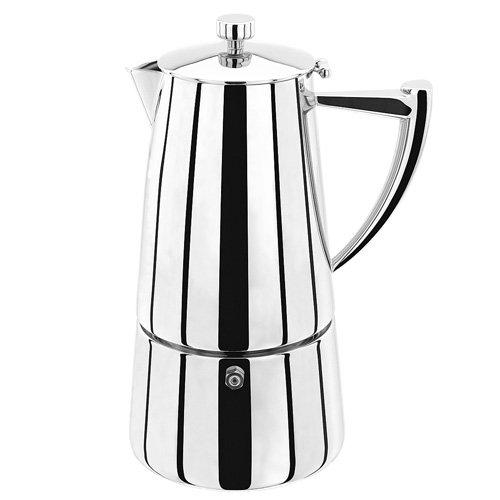 Stellar Art Deco Espressokocher 6 Tassen, 375ml, Edelstahl, Silber, 11.6 x 14.4 x 21.3 cm