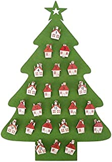 VDV Christmas Advent Calendar Countdown DIY Christmas Tree Fairy Light Home New Year 2019 Wall Hanging Ornaments Christms Decoration-Green with Light