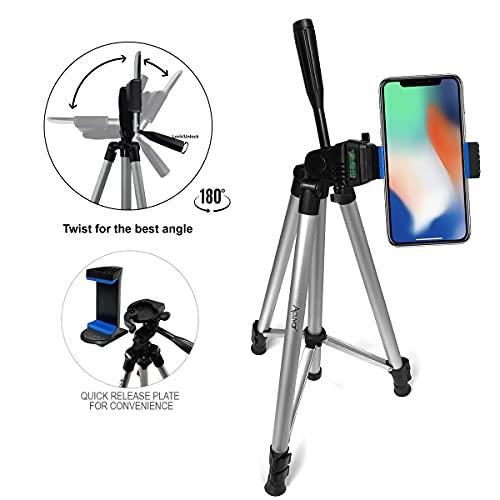 Acuvar - Trípode para cámara (Aluminio, con Soporte Universal para Smartphone, 127 cm/50', Incluye Gamuza de Microfibra)
