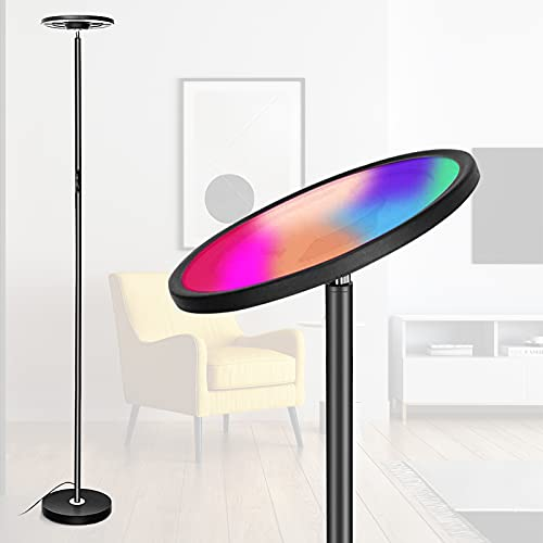 Lampada da Terra WiFi, Lampada da Terra LED LPPO RGBW, Lampada da Terra Intelligente Dimmerabile, Controllo Touch/Vocale, Funziona con Smartphone, Alexa e Google Home, per Feste, Soggiorno