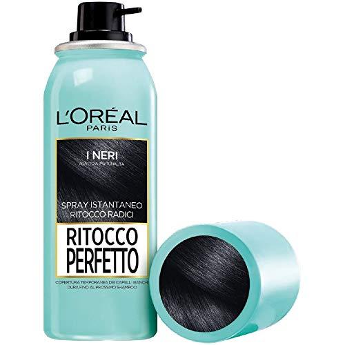 L'Oréal Paris Spray Radici Ritocco Perfetto, Colorazione Ricrescita, Copre i Capelli Bianchi e Dura 1 Shampoo, Nero, 75 ml, Confezione da 1