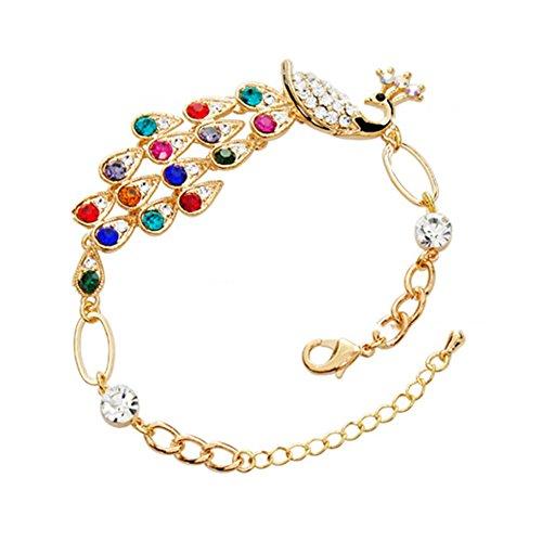 Fablcrew Damen-Armband, kreativ, modisch, mehrfarbig, Pfau, Legierung, Kette, Schmuck für Frauen, Geschenk 17 + 4 cm, 1 Stück