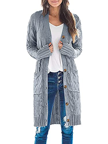 MEROKEETY Womens Long Sleeve Cable Knit Long Cardigan Open Front Button Sweater Outerwear Grey