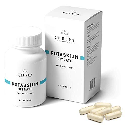 Compresse di Citrato di Potassio (333 mg) - Il più Alto Assorbimento nei Integratore di Potassio - Citrato di Potassio Puro 90 Capsule Vegane - Cheers