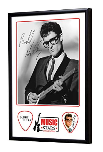 We Love Guitars Buddy Holly Music Stars Gitarre Plektrum Framed Gerahmt Display Gitarren Picks