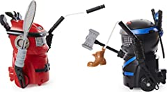 HILARIOUS BATTLING ROBOTS: This set includes 2 Ninja Bots – Red Dragon and Black Tiger! Each Ninja Bot's silly personality comes to life with its own set of weapons and over 100 sounds and movements! ARM: Before battle, arm each Ninja Bot! Choose fro...