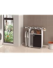 Ditalia Wooden Single Door Cabinet With Ironing Board, White/black with Assembly