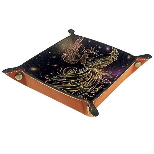 Bennigiry Valet Tablett Firebird Phoenix Druck Leder Schmuck Tablett Organizer Box für Brieftaschen, Uhren, Schlüssel, Münzen, Handys und Bürogeräte, Multi, 16 x 16 cm