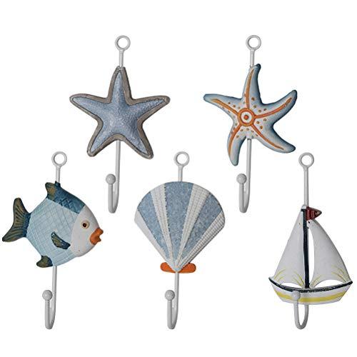 VOSAREA Ganci Appendiabiti a Forma di Stella di Mare Barca Conchiglia Pesce Decorazioni Natale Muro Parete Arredamento Stile Mare 5 Pezzi