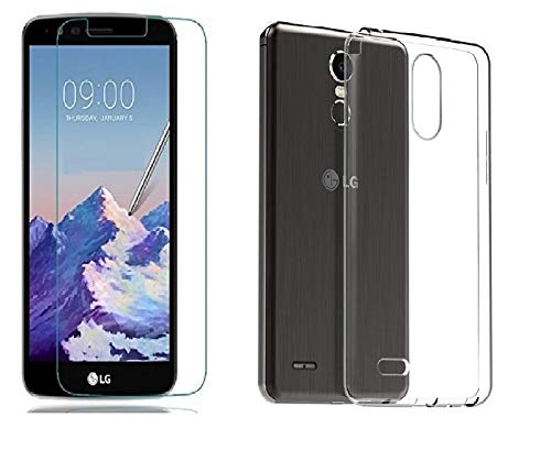 Craftech Premium Tempered Glass + Soft Protective Transparent Back Cover Case for LG Stylus 3