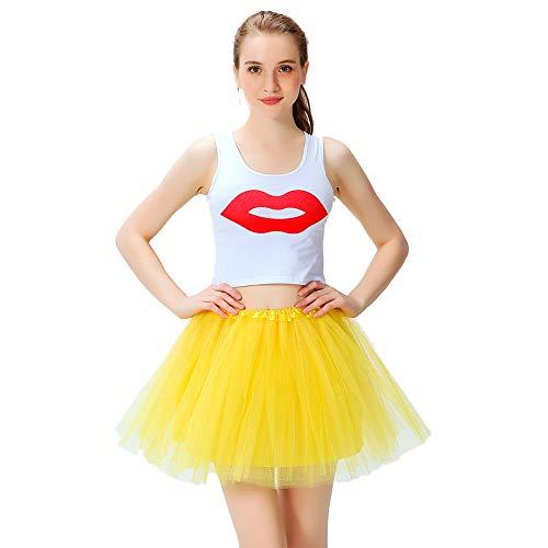 LOOHAOC Tutu Falda de Mujer Falda de Tul 50's Short Ballet 4 Capas Accesorios Falda Tul Princesa de Vestimenta de Baile Niñas para Vestirse Disfraces Danza