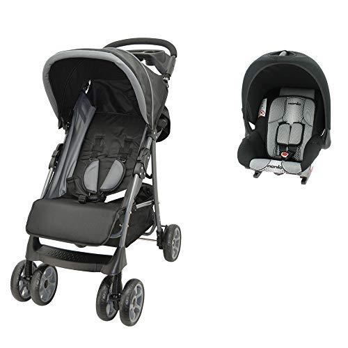 Kombinierter Kinderwagen CHAMPION + Babyschale Gruppe 0+ (0-13kg) - Nania pop schwarz (schwarz)
