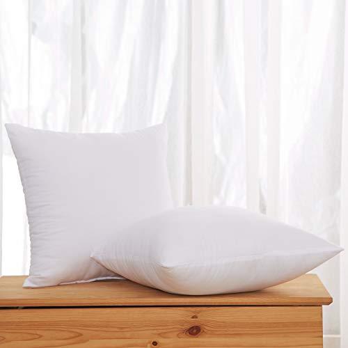 Acanva Decorative Square Throw Pillow Inserts Hypoallergenic Form Stuffer Cushion Sham Filler, 16x16, White, 2 Piece