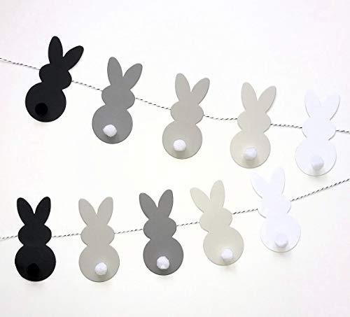 Cartissimi Bunny Parade Bastel-Set mit 10 Papier-Häschen in Grau, Schwarz und Weiß für Diverse DIY-Oster-Bastel-Projekte - im Monochrome-Design