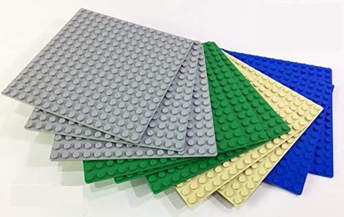 Brick Loot 10 Pack Compatible 5 X 5 inches Baseplates 16 x 16 dots Base Plates - Variety Pack