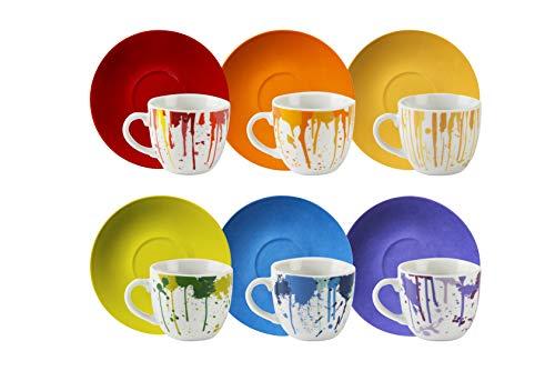 Excelsa Dripping Set 6 Tazzine da caffè, Porcellana