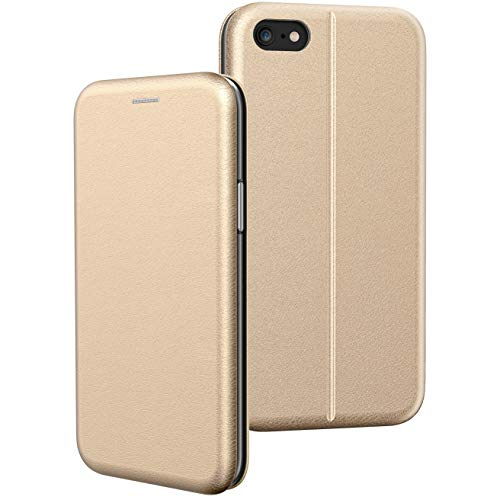 BYONDCASE iPhone 6s Plus Hülle Gold, iPhone 6 Plus Handyhülle [Deluxe Leder Flip-Case Klapphülle] Fullbody 360 Grad Rundumschutz Ultra Slim kompatibel mit dem iPhone 6 Plus Case