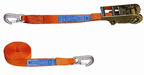 mamutec 100535060082 Zurrgurt zweiteilig mit Ratsche und Spitzhaken, orange, 2500 daN, 6 m