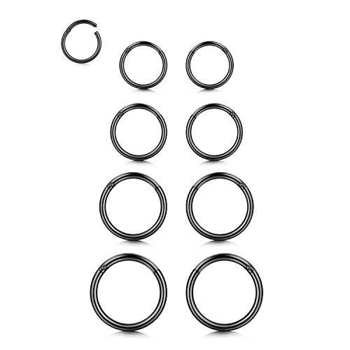 Zolure 14G Acero INOX Segmento de Clicker de Acero Anillo de aro de Nariz 8 Piezas Negro 8mm/10mm/12mm/14mm