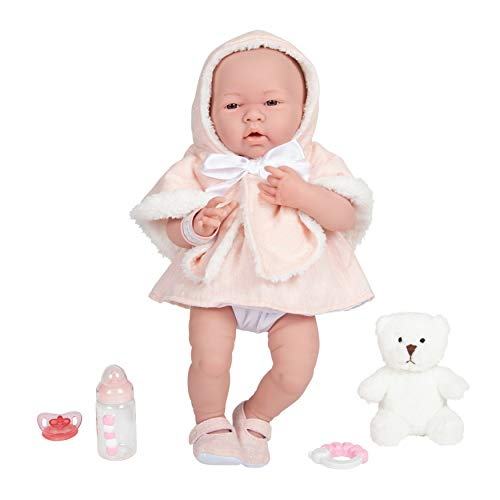 JC Toys La Newborn All-Vinyl-Anatomically Correct Real Girl 15u0022 Baby Doll in Pink Coat Set and Deluxe Accessories, Designed by Berenguer.