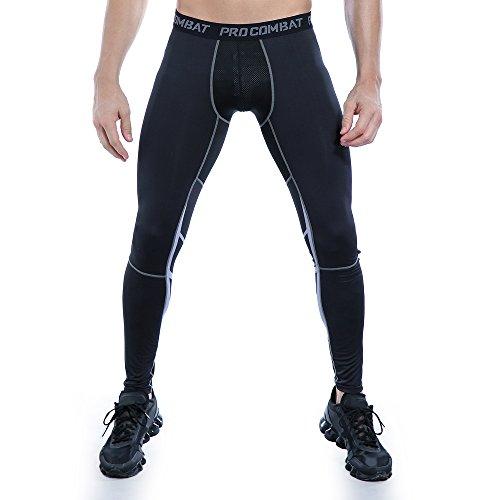 AMZSPORT Herren Fitness Hose Pro Cool Compression Tights Funktionswäsche Pants, S, Schwarz - 4