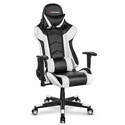 Mfavour Ergonomischer Gaming Racing Schreibtischstuhl mit Höhenverstellung Bürostuhl mit Kopfstütze Lendenwirbelstütze E-Sports Drehstuhl mit Racing Stil PU Leder Hohe Rückenlehne
