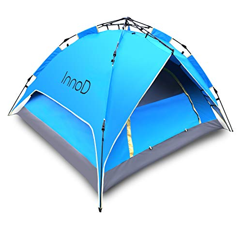 InnoD Instant Pop Up Tent, Camping Tent for 2-3 Person, Double Layer, Waterproof, 3 Minutes Easy Setup, Windproof, Hiking, Mountaineering, Family Beach Dome Shelter, Family Camping, Anti-Storm Tent