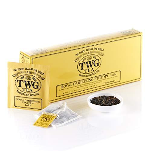 TWG Tea | Royal Darjeeling FTGFOP1, blend de té negro de primera cosecha en 15 bolsitas de algodón cosidas a mano en caja de regalo de 37,5g